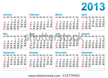 template calendar 2013 year stock vector royalty free 113779492