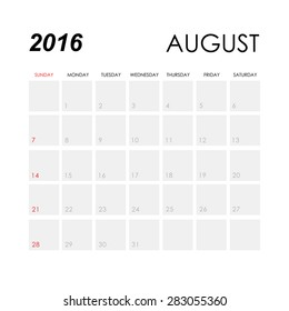 Template of calendar for August 2016