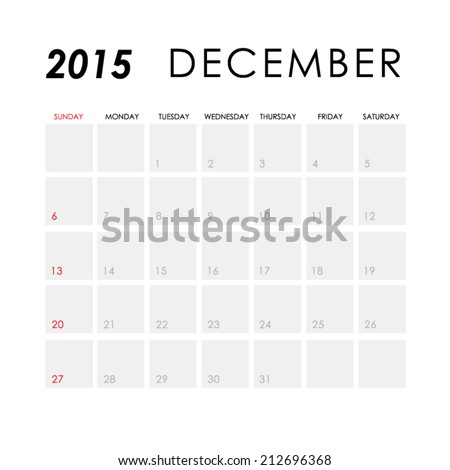 Template Calendar December 2015 Stock Vector Royalty Free