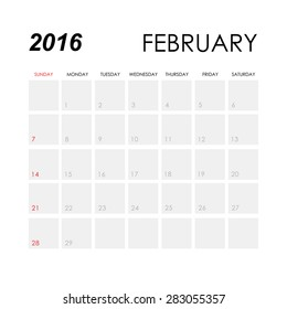 February 2016 Monthly Calendar Images Stock Photos