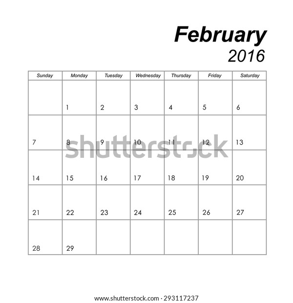 Template Calendar February 2016 Stock Image Download Now
