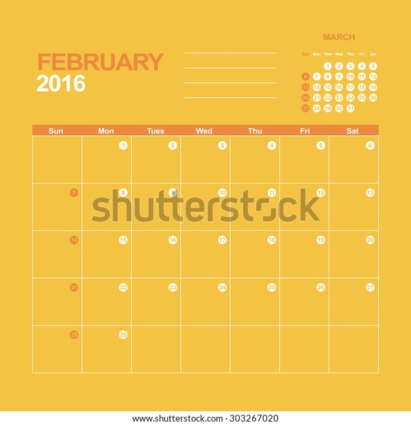 Template Calendar February 2016 Stock Vector Royalty Free