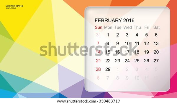 Template Calendar February 2016 Modern 3d Stock Vector