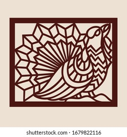 Template capercaillie for laser cutting. Abstract stylized wood grouse for cut. Stencil for decorative panel of wood, metal, paper. Vector illustration