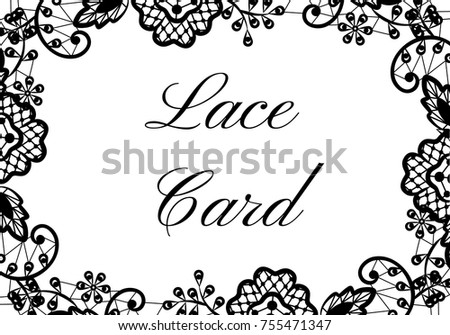 template card black lace border on stock vector royalty free