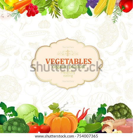 template card border vegetables your design stock vector royalty