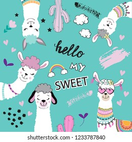 Template card with cute alpaca and inscription hello my sweet