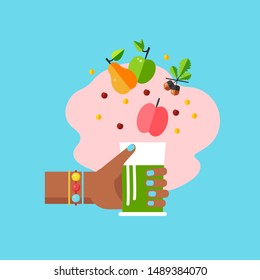 Template card with glass of smoothie in hand and different fruits around. Concept of celebrate card for World Vegan Day.