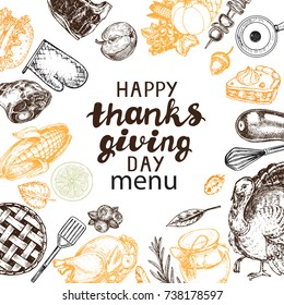 Template card Happy Thanks giving Day menu with hand drawn thanks giving elements