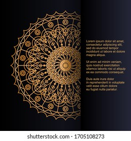 Template for card or invitation with beautiful gold ornament and place for text. Vector design with mandala pattern.