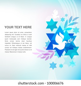 template card with jewish symbols