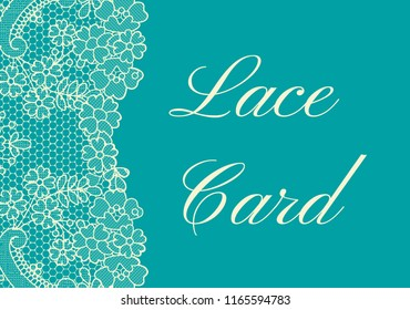 Template of card with yellow lace border on green background