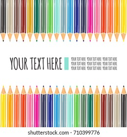 Template for cards or invitations with colored pencils. Can be used for scrapbook, banner, print, etc.