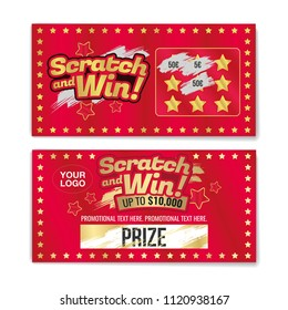 Template cards with scratch and win letters. Golden colors letters. CMYK colors. Place for prize. Vector illustration.