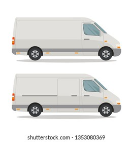Template of cargo minibus for corporate identity and advertising. Side view. Vector illustration, isolated on white background.