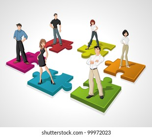 Template with cartoon business people over puzzle pieces