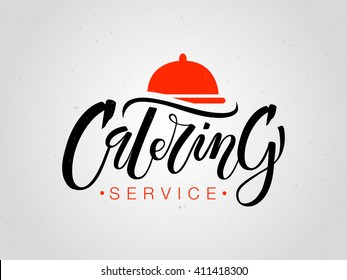 Template of catering company logo. Hand sketched lettering typography. Outdoor events and restaurant service logo isolated on white background. Vector illustration EPS 10