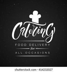 Template of catering company logo. Hand sketched lettering typography. Outdoor events and restaurant service logo isolated on black background. Vector illustration EPS 10