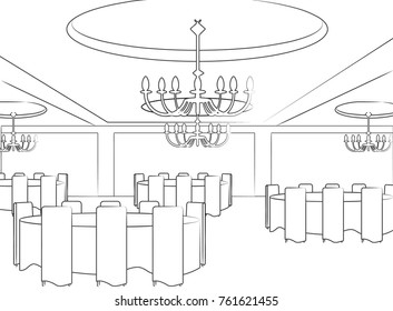 Template of celebration hall for event designers or wedding planners. Add your colors and decorations to impress your client!