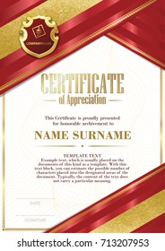 Template of Certificate of Appreciation with badge and with red and gold ribbons