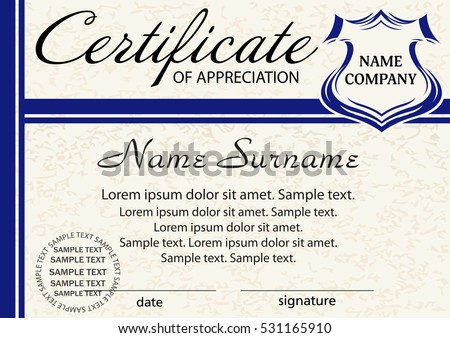 template certificate appreciation elegant blue design stock vector