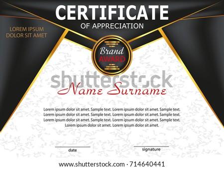 Template Certificate Of Appreciation Elegant Design Vector Illustration