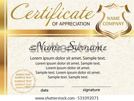 Template Certificate Of Appreciation Elegant Gold Design Vector Illustration