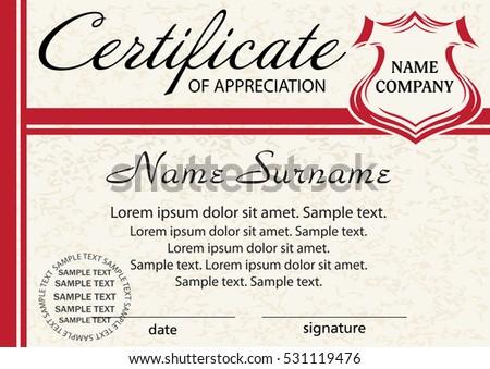 Template Certificate Appreciation Elegant Red Design Image