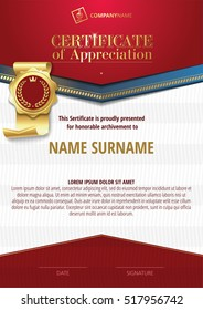 Template of Certificate of Appreciation with golden badge 2
