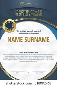 Template of Certificate of Appreciation with golden badge 4