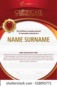 Template of Certificate of Appreciation with golden badge 5