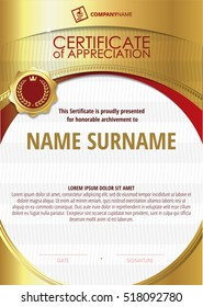 Template of Certificate of Appreciation with golden badge 6