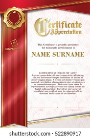 Template of Certificate of Appreciation with golden badge 8