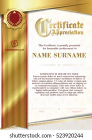 Template of Certificate of Appreciation with golden badge 9