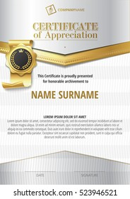 Template of Certificate of Appreciation with golden badge and silver elements