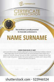 Template of Certificate of Appreciation with golden badge and silver round frame