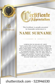 Template of Certificate of Appreciation with golden badge and silver ribbon
