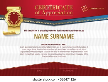 Template of Certificate of Appreciation with golden badge and red elements, horizontal