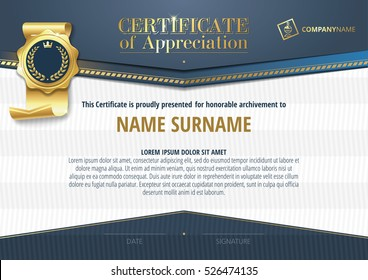 Template of Certificate of Appreciation with golden badge and blue elements, horizontal