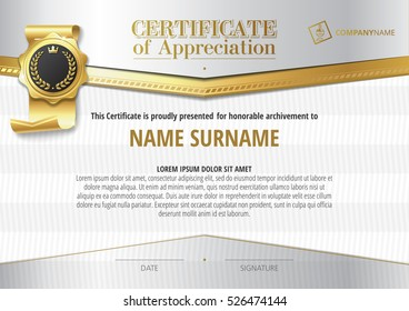 Template of Certificate of Appreciation with golden badge and silver elements, horizontal