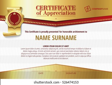Template of Certificate of Appreciation with golden badge and elements, horizontal