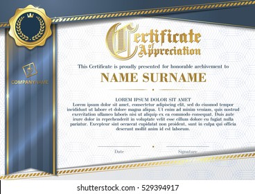 Template of Certificate of Appreciation with golden badge and blue ribbon, horizontal