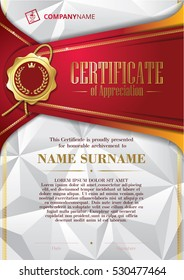 Template of Certificate of Appreciation with golden badge and triangular background, in red