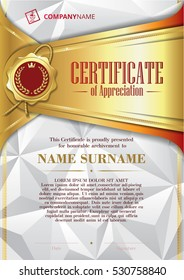 Template of Certificate of Appreciation with golden badge and triangular background, in gold