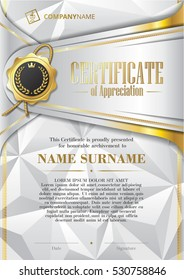 Template of Certificate of Appreciation with golden badge and triangular background, in silver