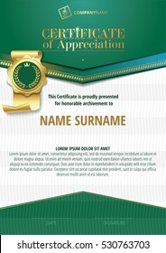 Template of Certificate of Appreciation with golden badge and green elements