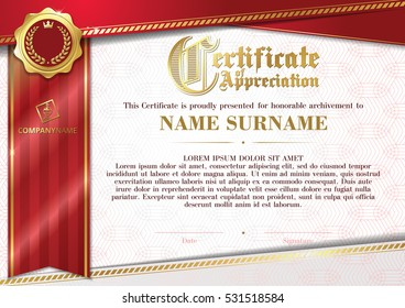 Template of Certificate of Appreciation with golden badge and red ribbon, horizontal