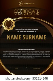 Template of Certificate of Appreciation with golden badge and dark brown round frame
