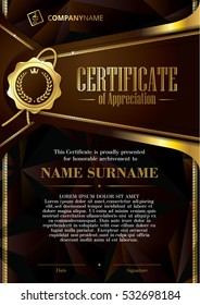 Template of Certificate of Appreciation with golden badge and triangular background, in dark brown