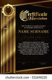 Template of Certificate of Appreciation with golden badge and ribbon, with dark brown elements